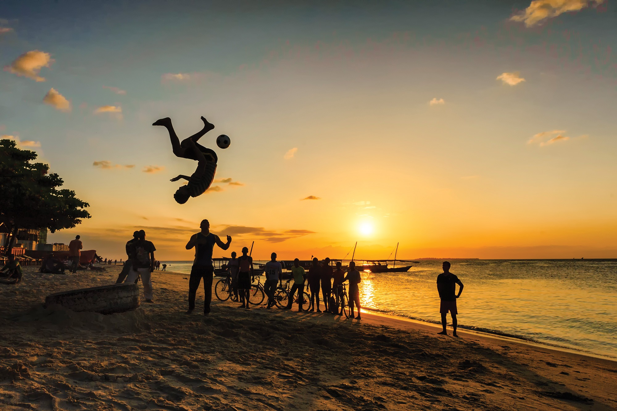 A game of jump and kick on Stone Town beach