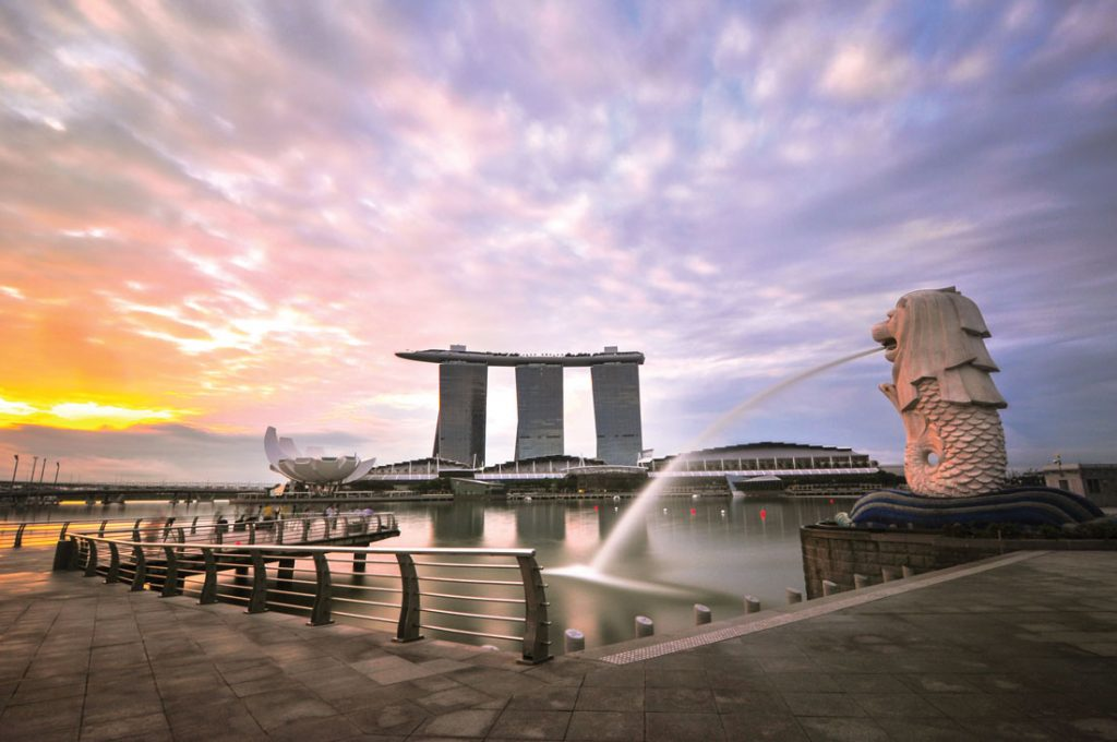 Merlion Park with a view towards Marina Bay Sands. Photo: Getty Images