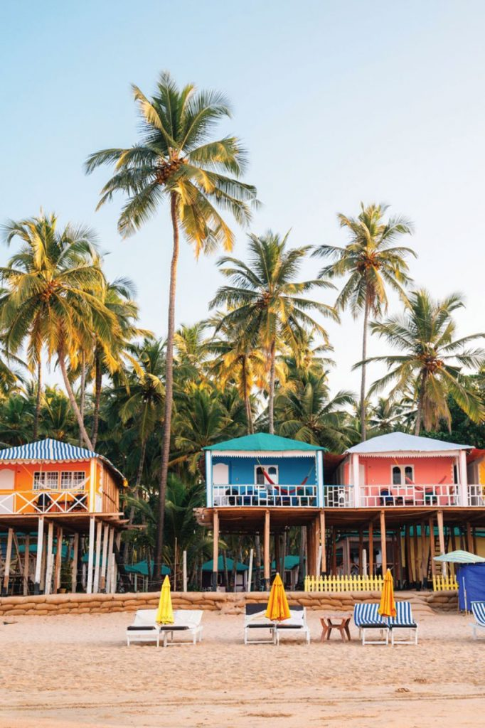 Vibrant bungalows on Palolem Beach