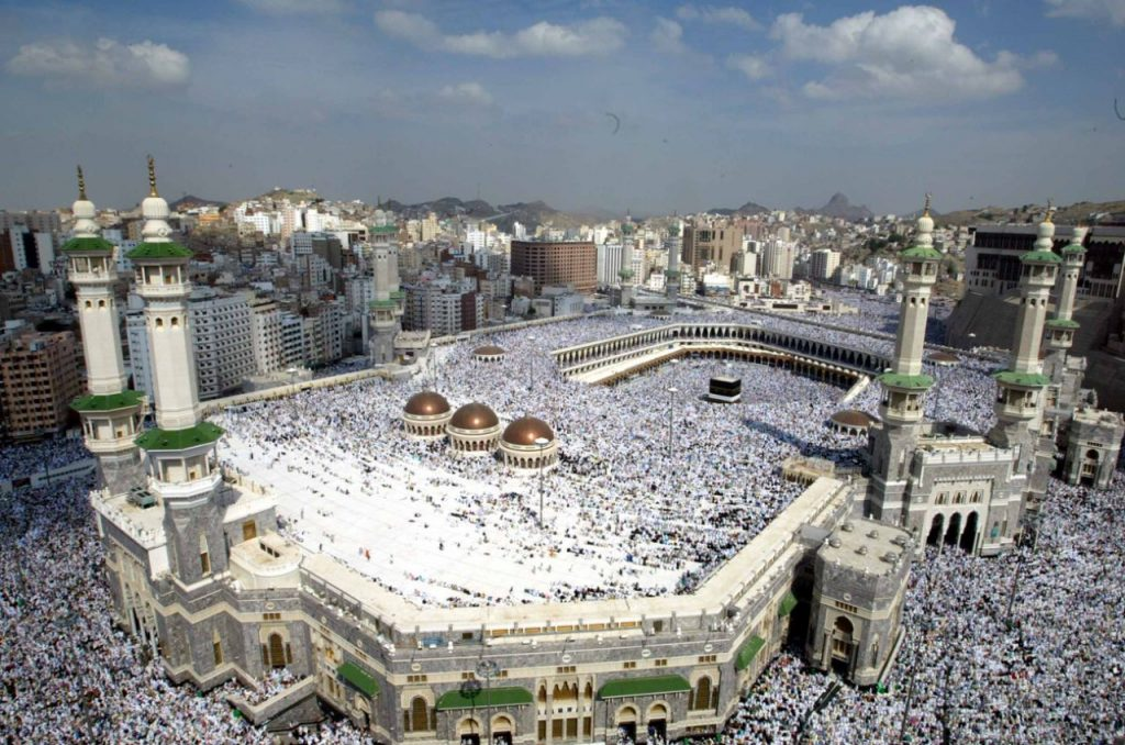 An aerial view of Masjid Al Haram Mosque, the largest mosque in the world