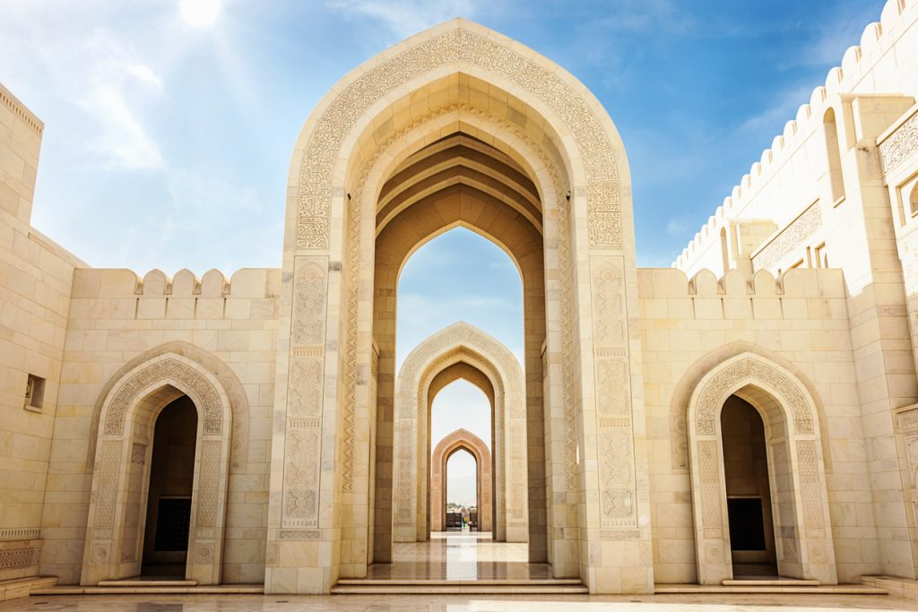 The stone arches of Sultan Qaboos Grand Mosque Muscat,Oman