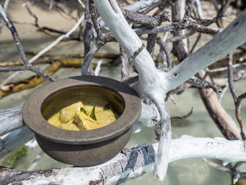 A fish curry in a pottery bowl balancing on white trees in the Maldives